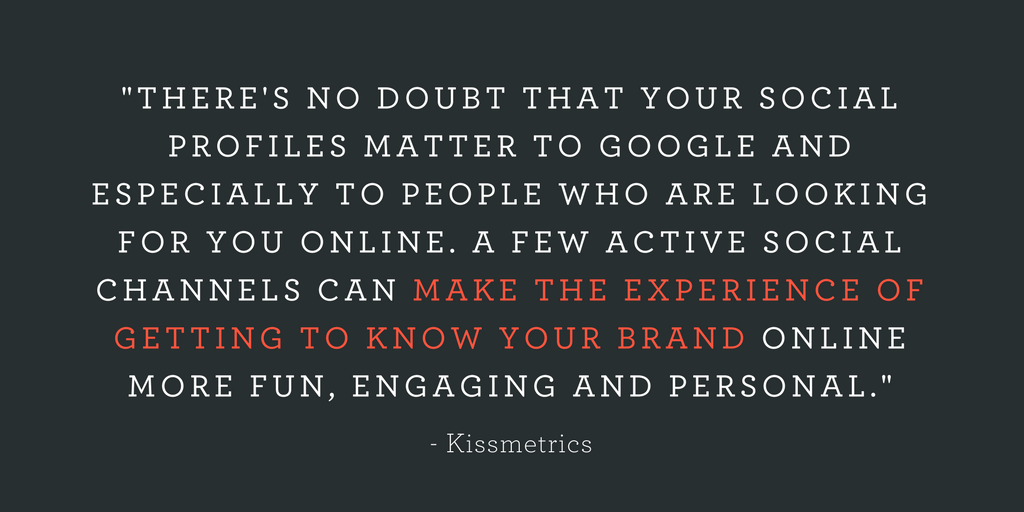 """""""THERE'S NO DOUBT THAT YOUR SOCIAL PROFILES MATTER TO GOOGLE AND ESPECIALLY TO PEOPLE WHO ARE LOOKING FOR YOU ONLINE. A FEW ACTIVE SOCIAL CHANNELS CAN MAKE THE EXPERIENCE OF GETTING TO KNOW YOUR BRAND ONLINE MORE FUN, ENGAGING AND PERSONAL."""""""