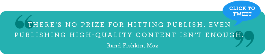 There's no prize for hitting publish. Even publishing high-quality content is not enough. [Rand Fishkin, Moz]