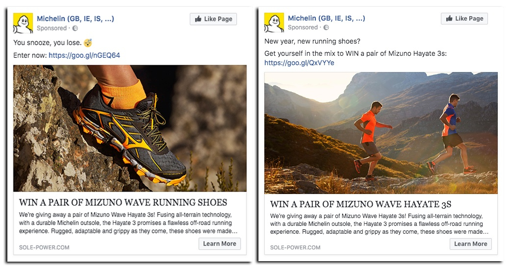 social media competition ads